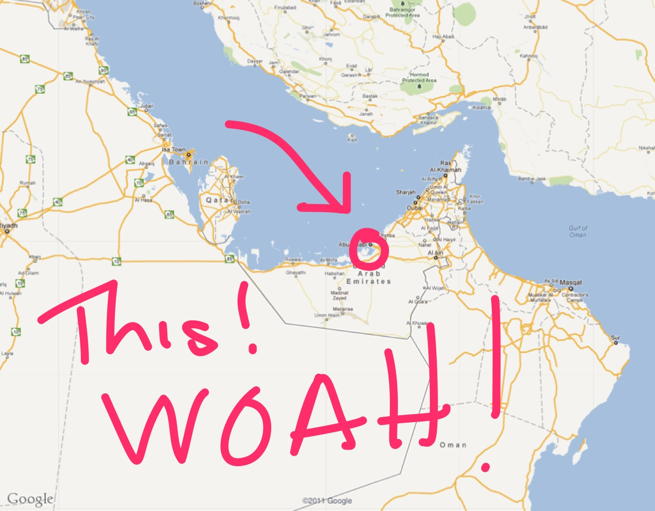 It's in the Middle East, smooshed between Saudi Arabia and Oman